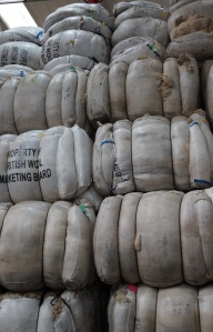 Bags of fleeces stacked high